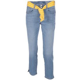 Damen Capri Jeans mit buntem Bindegürtel
