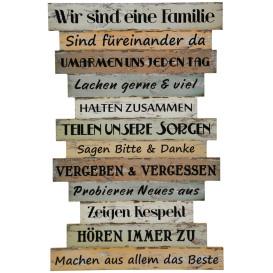 Bild mit Sprüchen für Familienregeln 51x33cm