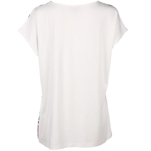 Damen Materialmix Shirt mit Schmucksteinchen