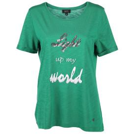 Damen Shirt mit Pailletten, Print und Stickerei