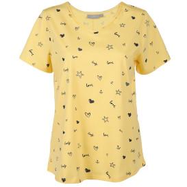 Damen T-Shirt mit kleinem Print und Strassbesatz