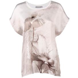 Damen Shirt im Materialmix mit Glitzernieten