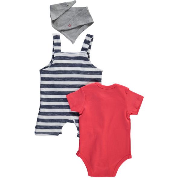 Baby 3teiliges Set bestehend aus Body, kurzer Strampler und Halstuch