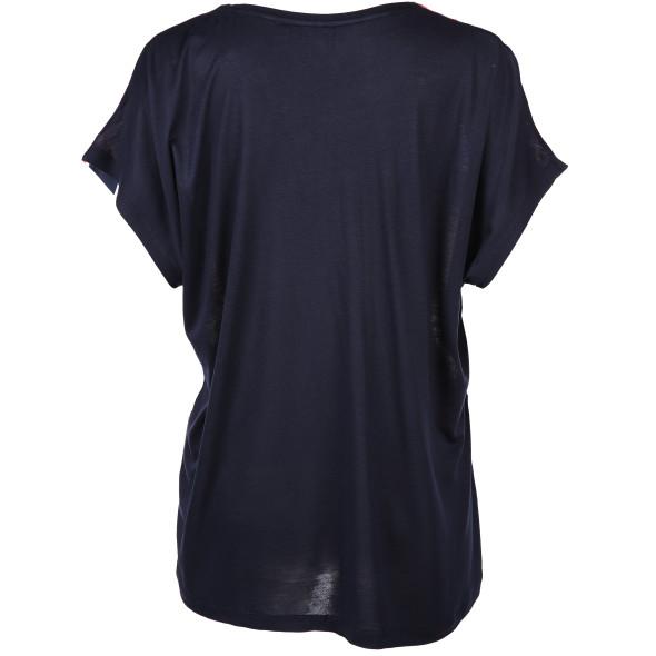 Damen Materialmix Shirt in Streifenoptik