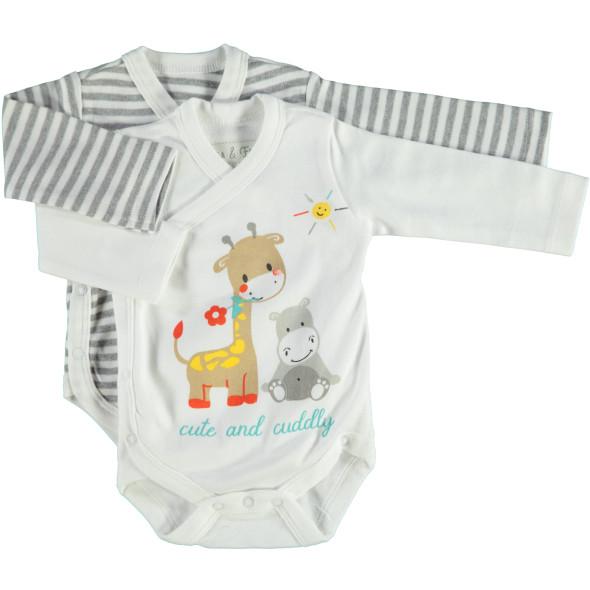 Baby Wickelbody mit langem Arm im 2er Pack