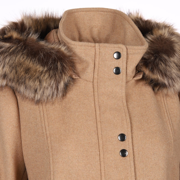 Damen Wollmix-Mantel mit abnehmbarer Kapuze