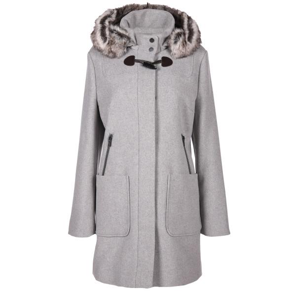 Damen Wollmix-Mantel mit Kapuze