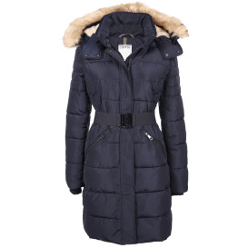 Damen Mantel mit Gürtel und Kapuze