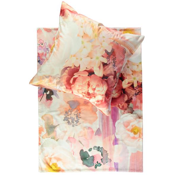 Satinbettwäsche im Blumendessin 155x220cm
