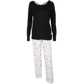 Damen Pyjama mit Minimalprint auf der Hose
