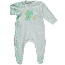 Baby Pyjama, grau meliert mit Print