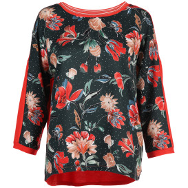 Damen Shirt im Materialmix mit Blumenprint