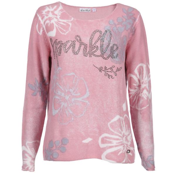 Damen Pullover mit Print und Glitzerplättchen
