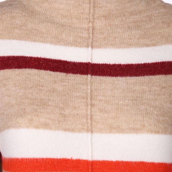 Damen Streifenpullover mit kleinem Stehkragen