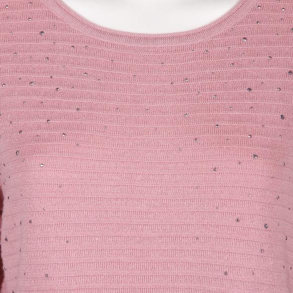 Damen Pullover mit Zierplättchen und Bindeband
