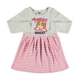 Mädchen Kleid mit Frontprint und Streifen
