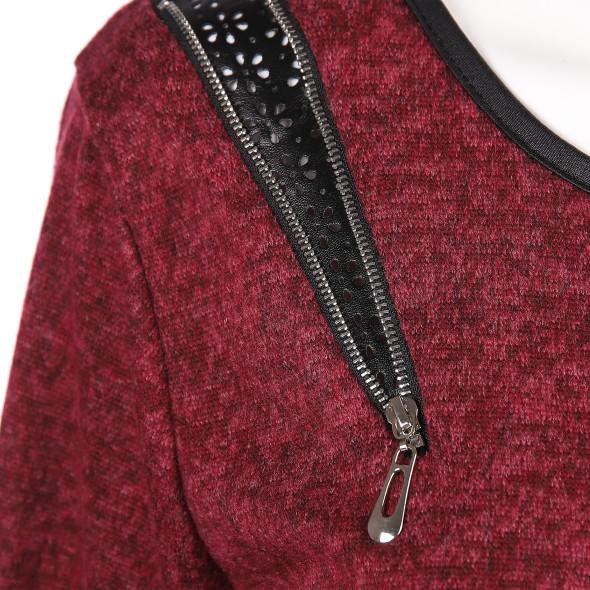 Damen Feinstrick Pullover mi Kontrasteinsätzen