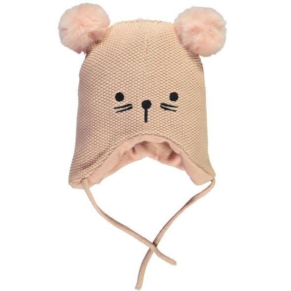 Baby Mütze mit Katzengesichtstickerei und Pompoms