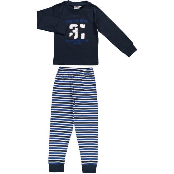 Jungen Pyjama mit Druck und Streifenhose
