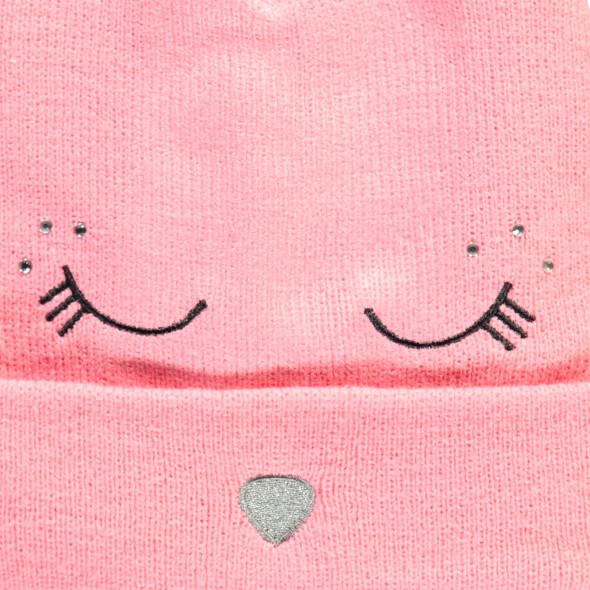 Mädchen Mütze mit Stickerei, Glitzersteinchen und Öhrchen