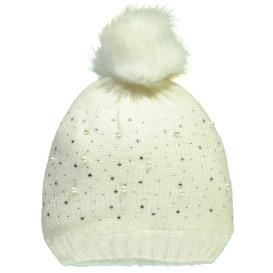 Mädchen Mütze mit Strass- und Perlenbesatz