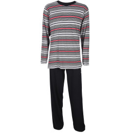 Herren Pyjama mit gestreiftem Oberteil