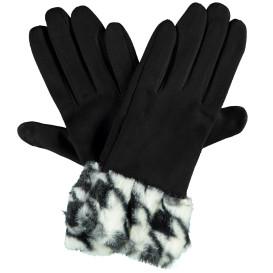 Damen Handschuhe mit Kunstfellbesatz
