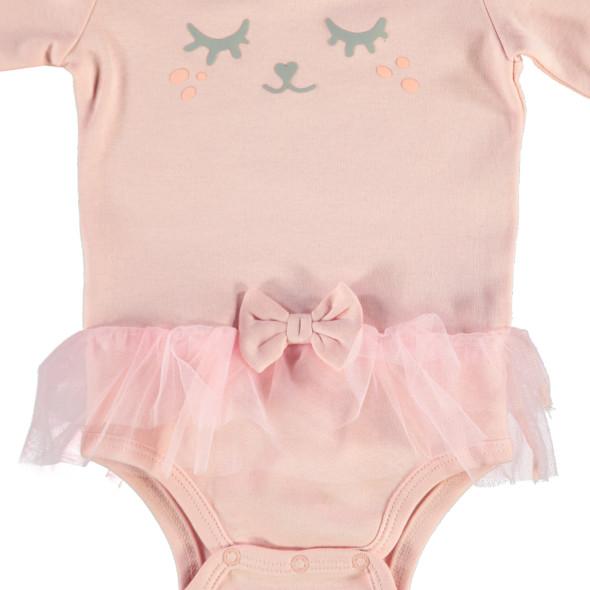 Baby Body mit Tüllbesatz und Print