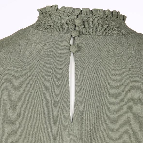Damen Bluse mit gesmokten Abschlüssen