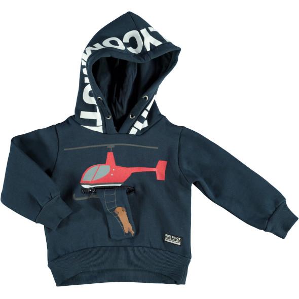 Jungen Sweatshirt mit Kapuze und originellem Detail