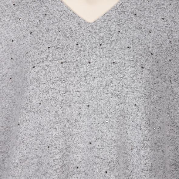 Große Größen Flauschshirt mit Glitzernieten