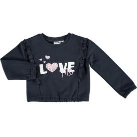 Mädchen Sweatshirt mit Volant und Stickerei