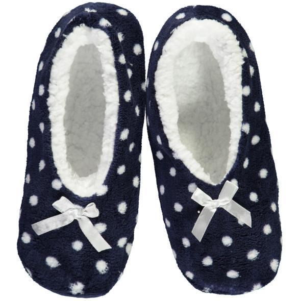 Damen Plüsch Sockenschuhe mit ABS Sohle