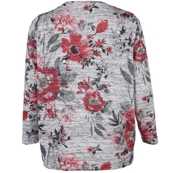 Große Größen Flauschshirt im floralen Look