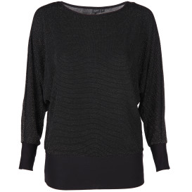 Damen Shirt mit Glitzer Effekt und Fledermausärmeln
