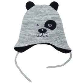 Baby Mütze mit Ohrenschutz und Teddygesicht
