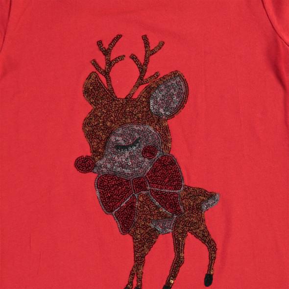 Mädchen Weihnachtsshirt mit Pailletten und Täschchen