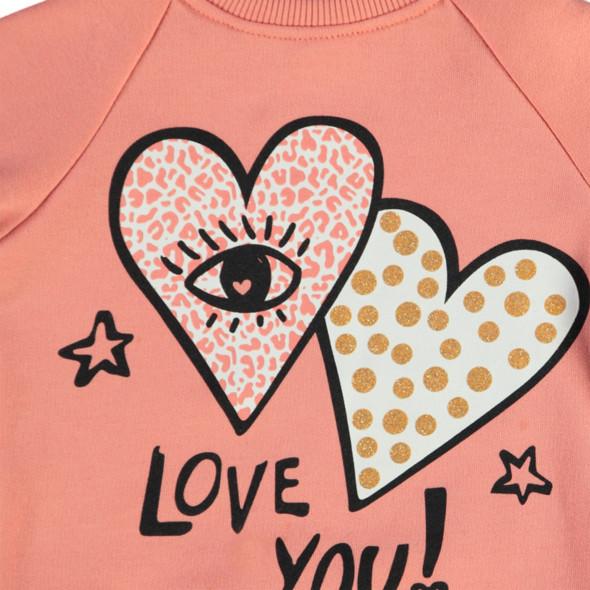 Mädchen Sweatpullover mit Herzchenprint