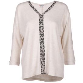 Damen Shirt mit Leo-Einsatz und 3/4 langen Ärmeln