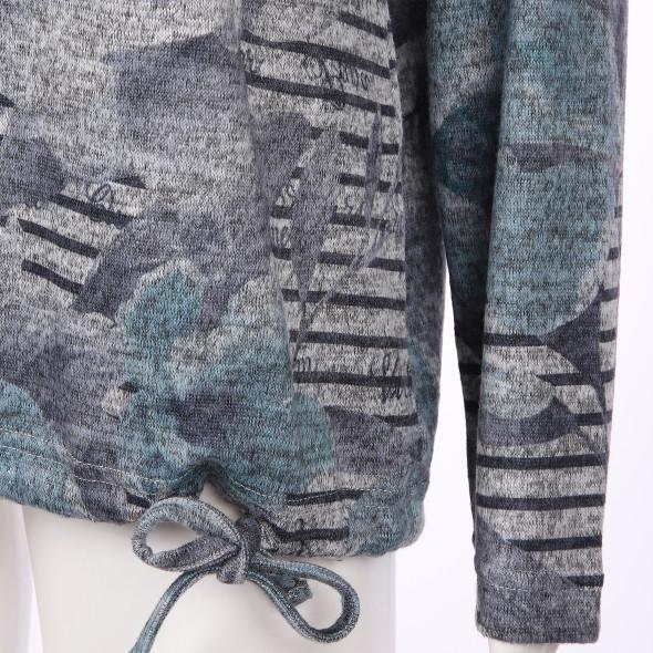 Damen Strick- Flauschshirt mit Print