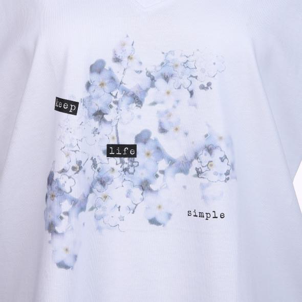 Damen Shirt mit Frontprint und V-Ausschnitt