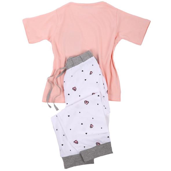 Mädchen Pyjama mit Hasenprint und Herzen