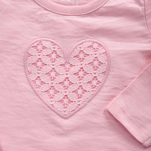 Baby Mädchen Langarmshirt mit Spitzenmotiv