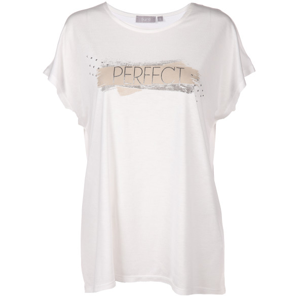Damen Shirt mit Glitzerprint und Ziernieten