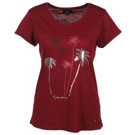 Damen Shirt mit Fontprint in Glitzeroptik