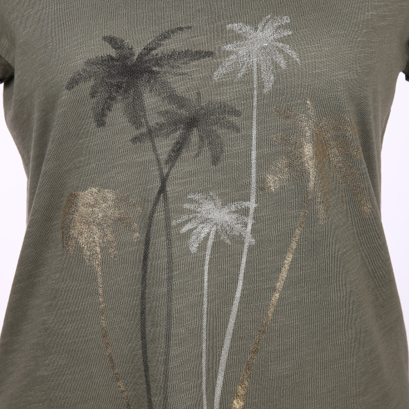 Damen Shirt mit Frontprint in Glitzeroptik