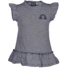 Mädchen Kleid mit zarten Streifen und Print