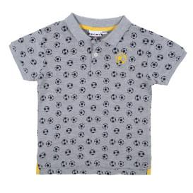 Jungen Poloshirt mit Fussball Alloverprint