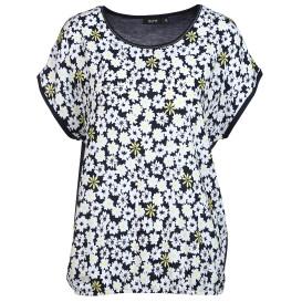 Damen Shirt im Materialmix mit Alloverprint