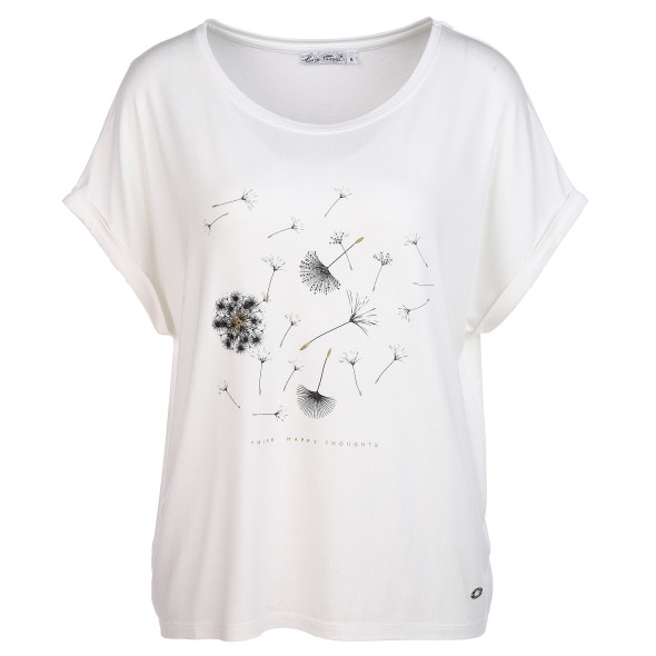 Damen Shirt mit Glitzerprint und Glitzersteinchen